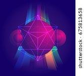 vector retro futuristic... | Shutterstock .eps vector #675813658