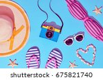beach sunny set. fashion summer ... | Shutterstock . vector #675821740