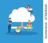 cloud storage concept...   Shutterstock .eps vector #675828160