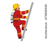 the fireman climbing the stairs. | Shutterstock .eps vector #675830440