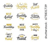 happy friendship day cute hand... | Shutterstock .eps vector #675831739