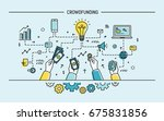 crowdfunding. line art colorful ...   Shutterstock . vector #675831856