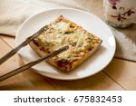 pizza toast with cheese and... | Shutterstock . vector #675832453