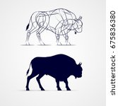Horned Bison Silhouette With...