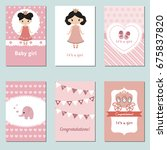 set of beautiful baby girl card ... | Shutterstock .eps vector #675837820
