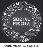 set of hand drawn social media... | Shutterstock .eps vector #675838516