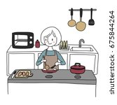cute woman wore apron cooking... | Shutterstock .eps vector #675844264