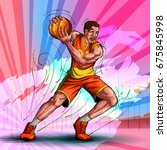 active young player playing... | Shutterstock .eps vector #675845998