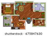 top view of floor plan interior ... | Shutterstock .eps vector #675847630