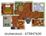 top view of floor plan interior ... | Shutterstock .eps vector #675847630