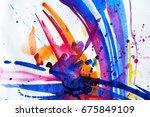 abstract watercolor texture.... | Shutterstock . vector #675849109