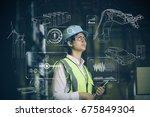 hispanic woman engineer and... | Shutterstock . vector #675849304