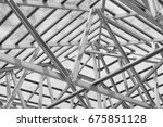 structure of steel roof frame... | Shutterstock . vector #675851128