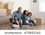 happy family with two children... | Shutterstock . vector #675852163
