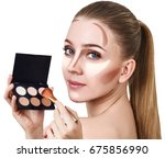 young woman with contouring... | Shutterstock . vector #675856990