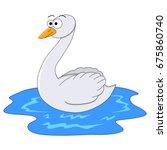 cute cartoon swan. vector... | Shutterstock .eps vector #675860740