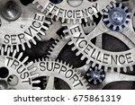 macro photo of tooth wheel... | Shutterstock . vector #675861319