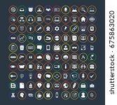 100 office icons set | Shutterstock .eps vector #675863020