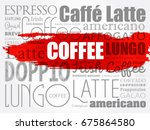 list of coffee drinks words... | Shutterstock .eps vector #675864580