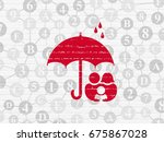 protection concept  painted red ... | Shutterstock . vector #675867028