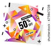 summer sale geometric style web ... | Shutterstock .eps vector #675867238