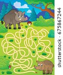 maze 29 with wild pigs   eps10... | Shutterstock .eps vector #675867244