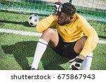 upset african american... | Shutterstock . vector #675867943
