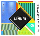 trendy flat geometric vector... | Shutterstock .eps vector #675872896
