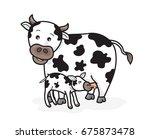 cow and calf cartoon vector | Shutterstock .eps vector #675873478