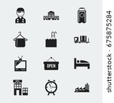 set of 12 editable motel icons. ...