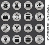 set of 16 editable knowledge... | Shutterstock .eps vector #675880213