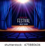 a theater stage with a blue... | Shutterstock .eps vector #675880636