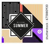 trendy flat geometric vector... | Shutterstock .eps vector #675880930