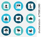 set of 9 editable climate icons....