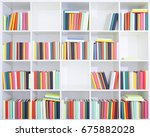 bookshelf with books | Shutterstock . vector #675882028