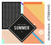 trendy flat geometric vector... | Shutterstock .eps vector #675884440