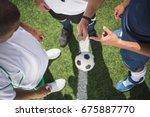cropped shot of referee holding ... | Shutterstock . vector #675887770