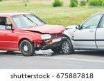 car crash accident on street | Shutterstock . vector #675887818