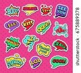 pop art comic speech bubbles... | Shutterstock .eps vector #675889378