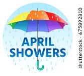 colored realistic umbrella....   Shutterstock . vector #675892810