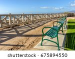 View Of Empty Green Benches And ...