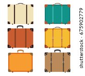 closed retro vintage suitcases. ... | Shutterstock .eps vector #675902779