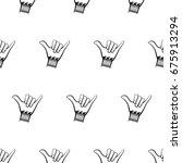 shaka hand seamless pattern...   Shutterstock .eps vector #675913294