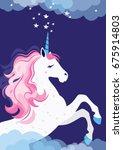 pink unicorn in space   Shutterstock .eps vector #675914803