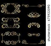 gold frame vintage element... | Shutterstock . vector #675922090