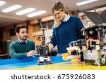 young students of robotics... | Shutterstock . vector #675926083