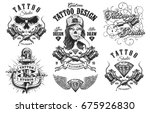 set of vintage black and white... | Shutterstock .eps vector #675926830