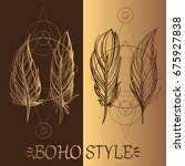 feathers. a set of elements in... | Shutterstock .eps vector #675927838