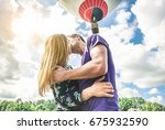 couple of lovers kissing at... | Shutterstock . vector #675932590