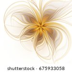 Abstract Fractal Golden Flower...